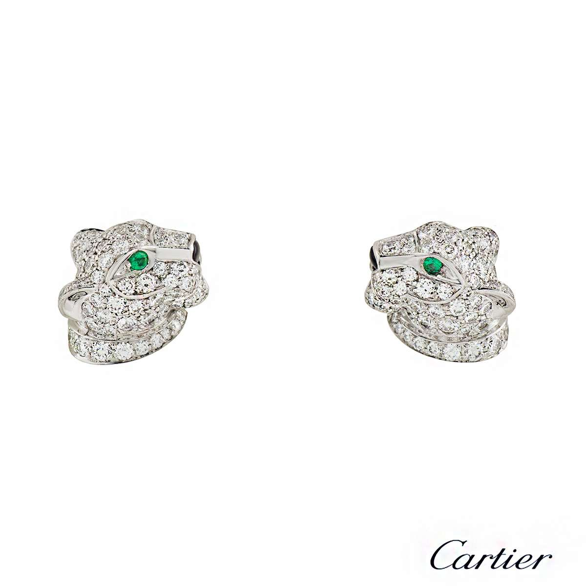 Cartier Panthere Diamond, Emerald and Onyx Earrings